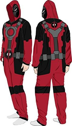 Deadpool (X-Men) Costume -- Hooded Fleece One-Piece Union...