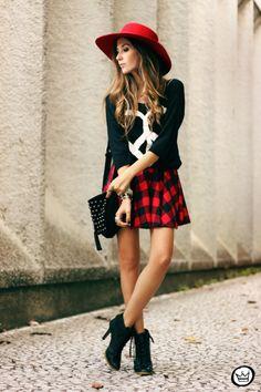 FashionCoolture plaid skirt plus blask blouse #peace