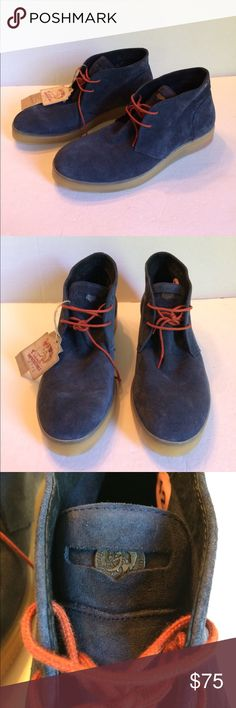Men's Diesel Blue Suede Chukka Boot Blue suede leather. Lace up with metal signature logo coin in the tongue. Tough molded slip resistant soles. New with tags and no box. Diesel Shoes Chukka Boots