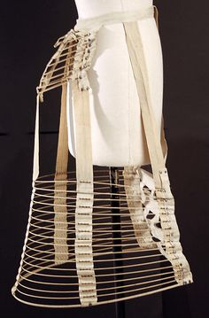 1880s Bustle made with Hoops.  A series of hoops and tapes are used for this undergarment and fashion accessory. More views of it can be seen at http://www.metmuseum.org/collections/search-the-collections/80006844?rpp=60=2=on=*=Underwear=2