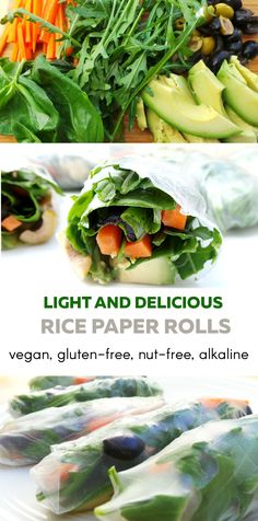 """Amazing vegan and gluten-free rice paper rolls. Delicious, light and alkaline - the perfect Beauty Bites. A great snack to satisfy your appetite on a late afternoon, just a few hours before """"real dinner"""". Great for detox, alkaline eating, anti-inflammatory eating and very practical to take everywhere. A good snack to boost your vegetable and antioxidant intake."""