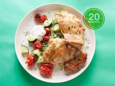 this but salmon    20-Minute Chicken Thighs and Couscous with Dill : Using boneless, skinless chicken thighs instead of breasts is a smart way to make sure the meat stays moist and flavorful. Plus, the grape tomatoes soften under the heat of the broiler, adding more juicy goodness to the chicken. Lots of lemon, plus dill and oregano, give the dish a Greek feel.