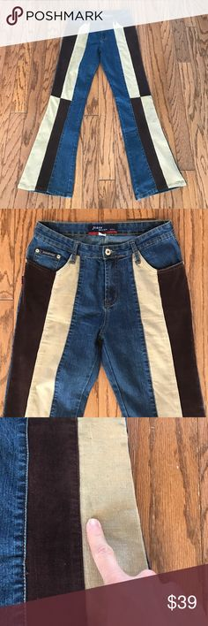 """Vtg. 90's patchwork flare jeans size 29 Groovy!!!!  Hello 1970!!  These super hip and oh so retro corduroy patch flare jeans are awesome! Made by Joana design USA in the 90s. Size 29. 96% cotton 4% Lycra. Small faded blue mark on corduroy – see photo. Please refer to measurements for your desired fit. Waist laying flat-14"""", rise-10"""", inseam-32"""", flare opening laying flat-10"""" Joana Design Jeans Flare & Wide Leg"""
