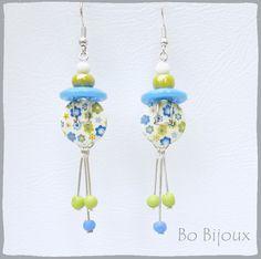 Boucles d'oreilles boutons liberty bleu et vert