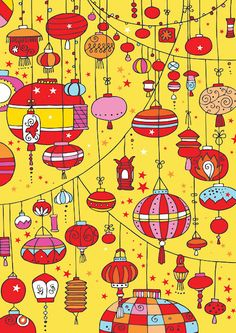 Chinese lanterns scrapbook paper - resource for Chinese new year