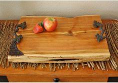 "Large Rustic Wood Serving Tray, Platter, cut cedar tree plank, 19"" long x 13"" wide x 1 5/8"" thick, heavy metal handles, rustic home decor, w... Cedar Trees, Serving Tray Wood, Newlywed Gifts, Rustic Wood, Platter, Plank, Heavy Metal, Wedding Gifts, Wedding Decorations"