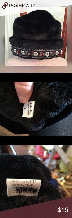 Polar Mitts Black Plush w/ Edelweiss Trim NWOT polar mitts faux fur hat polar mitts Accessories Hats