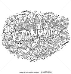 Istanbul city hand lettering and doodles elements and symbols background. Vector hand drawn sketchy illustration - stock vector