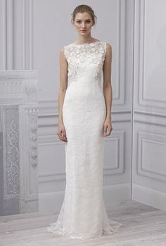 Bonito vestido de novia ajustado con encaje y pedrería, escote de ojal y sin mangas de  Monique Lhuillier 2013
