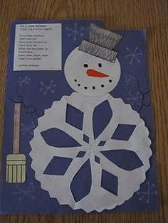 Use to make a snowman scene after reading practically any snowman story. We talk about cause and effect.   We made coffee filter and paper plate snowflakes before attempting the bodies, so this isn't the first time they have had to fold and cut a snowflake.