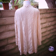 Spring Cardigan Cute Cardigan with open weave back detail. A great staple piece! Oatmeal color Sweaters Cardigans