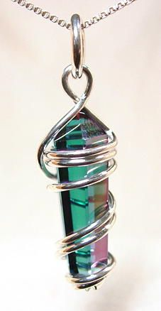 tapered crystal point wire wrapped pendant - new age metaphysical ...