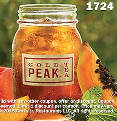 FREE Small Peach Papaya Green Sweetened Iced Tea at Carl's Jr. on http://www.icravefreebies.com/