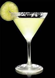 A margarita is a cocktail consisting of triple sec, tequila and lime or lemon juice, often served with salt or sugar on the rim of the glass.