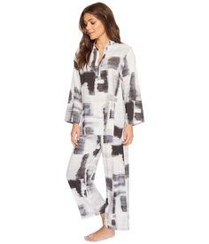 0e98044de8 N By Natori Brushstroke Geo Printed Challis Pj Set Pajamas Pjs Black White  XL