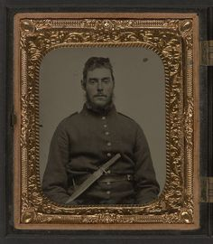 Unidentified soldier in Union uniform with large Bowie knife on belt