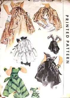 1940s FAB Evening Tunics, Cape or Hostess Aprons Pattern McCALL 1509 Vintage Sewing Pattern FACTORY FOLDED