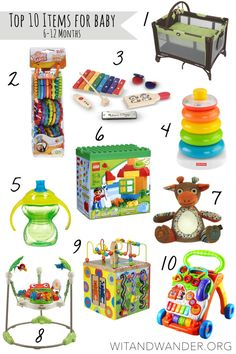 Top 10 Items for Babies 6-12 Months Old - Wit & Wander From practical to fun, these Top 10 Items for Babies 6-12 Months are the best toys, games, baby equipment, and accessories you will need for your one year old. This is also an amazing Gift Guide for Babies, Toddlers, and One Year Olds!