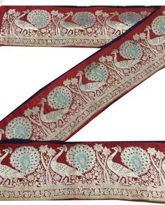 ANTIQUE VINTAGE SAREE BORDER PURE SILK  ZARI WOVEN PEACOCK TRIMS LACE 7W RED  #OMSAIHOME