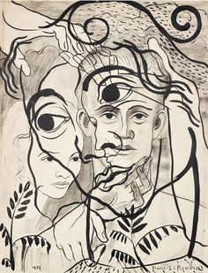 Francis Picabia (French, 1879-1953), Untitled, 1932. Ink and crayon on paper, 63.5 x 49.2 cm.