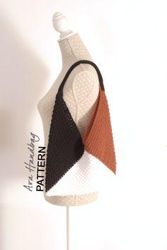 CROCHET Handbag PATTERN - ONE Piece Bag - Crochet Tote - Geometric Tote Pattern, Shoulder Bag, Gift Idea by TheNewcrochet on Etsy
