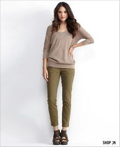 Taupe sweater and olive skinny jeans