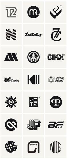 Monogramas, logos e isotipos que funcionan bastante bien, en especial la 1era y 2da fila, contienen aspectos de transito.  Logos & Marques 2010 by Socio Design , via Behance: