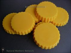 Homemade lotion bars with coconut oil, beeswax, and essential oils. Can be customized for skin types and has a guide.