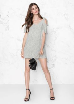 & Other Stories Cold Shoulder Knotted Dress in Drip Dots Print