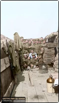 """Troops of """"C"""" Company, 1/2nd Battalion, Monmouthshire Regiment in their trenches in the Bizet area, April 1915, shortly before the battalion moved up to participate in the Second Battle of Ypres, where it suffered heavy casualties. Byrde, Evelyn H. (Photographer) (Source - © IWM Q 107840)"""