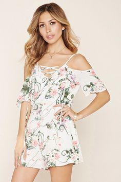 Lovecat Lace-Up Floral Romper White Romper, Floral Romper, Forever 21 Romper, Outfits 2016, Playsuit Romper, Girl Model, Jumpsuits For Women, Floral Tops, Cold Shoulder Dress