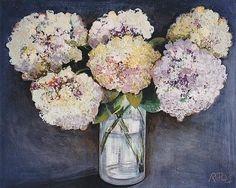 Hydrangea in a vase by Rose Long £1