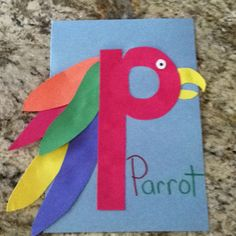 P is for parrot craft Sept 19 is talk like a pirate day Letter P Activities, Preschool Letter Crafts, Alphabet Letter Crafts, Abc Crafts, Alphabet Phonics, Preschool Projects, Daycare Crafts, Classroom Crafts, Preschool Crafts
