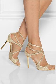 Jimmy Choo | Lang textured-lamé sandals | NET-A-PORTER.COM