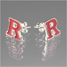 ffeb2156bf993 Show your team spirit sporting these red Block R post earrings. The  earrings are all sterling silver and is enamel filled with red.