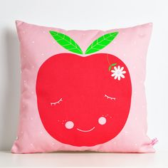 A sweet throw pillow made with high quality soft and strong 100% cotton fabric (a medium weight fabric).  Perfect for a cute and modern nursery decor or kids room.  Soft, fun, colorful… something different to decorate your baby bed. Individually cut and sewn with care, this square cushion measures 12x12 in (30x30 cm)  Filled with polyfill stuffing.  This beautiful cushion features an original illustration by PinkNounou.  . for combined shipping please send me an email  . other pillow...