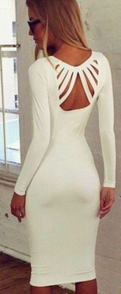 Cut Out Plunging Neckline Long Sleeve Cotton Dress