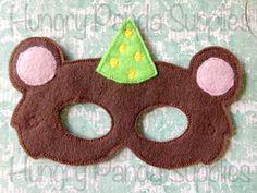Circus Bear Mask Embroidery Design, felt bear mask, in the hoop design