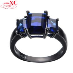 http://rubies.work/0878-ruby-pendant/ … Luxury Blue Sapphire Vintage Jewelry Women/Men Fashion Engagement Ring anel Blue CZ Band Black …