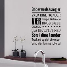 Badeværelsesregler - Wallstickeren til at sidde i badeværelset