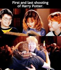 First and last shooting of Harry Potter. You may cry. : First and last shooting of Harry Potter. You may cry. More memes, funny videos and pics on Harry Potter Trio, Mundo Harry Potter, Harry Potter Memes, Ron Weasley, Hogwarts, Fans D'harry Potter, Cinema Tv, Mischief Managed, Narnia