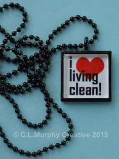 Sobriety Pendant Necklace Jewelry Square by CLMurphyCreative #goingtorehabforaddiction