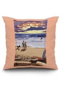Carmel Beach, California - Sunset Beach Scene - Lantern Press Artwork (20x20 Spun Polyester Pillow, Custom Border), Multi