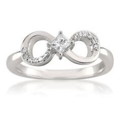 #amazon 14k White Gold Princess-cut & Round Diamond Infinity Bow Fashion Ring (1/4 cttw, H-I, I1-I2) - $399.99 (save 67%) #la4vediamonds #jewelry #women