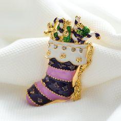 Feliz Navidad calcetines hermosos broches chapado en Oro Broches Del Rhinestone pernos de las broches de cristal de la vendimia decoración de Navidad joyería