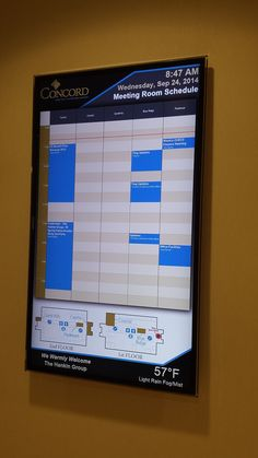 Concord HQ Digital Display, Meeting Room Schedule running  OSI DDF with MS Exchange and Visitor frames
