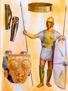 Arms and armor of a Italian, possibly Samnite warrior, fighting for Hannibal, from the time of the second Punic war, 3rd century, BC.