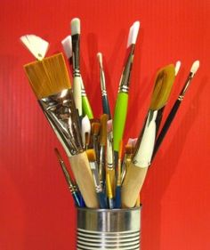 Guide to Choosing the Best Paint Brushes for Acrylics.    Includes basic brush knowledge, different brush options & what each is best used for, as well as proper brush care/cleaning.