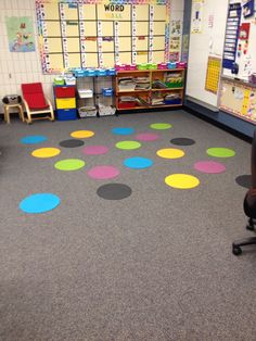 $2 ikea placemats as spot markers in Kindergarten!