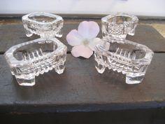 Vintage Set of 4 Footed Glass/Crystal Open Salt Cellars